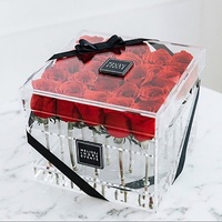Amazon top seller 2018 luxury clear frush rose preserved cube box acrylic flower rose box