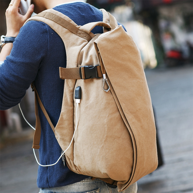 Custom design classic school durable big zipper canvas back pack usb backpack with usb charger