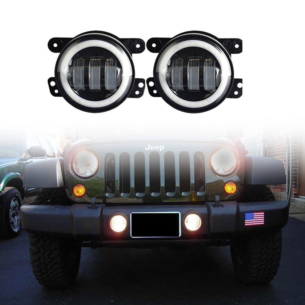 Cheap Wrangler Jk Led Lights Find Deals On Jeep Tj Reverse Get Quotations Vsek 4 Inch 60w Cree Fog Halo Ring Angel Eyes For