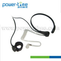 Throat-activated microphone with manual PTT and black coiled cord for effective communication and supervisory control (PTE-780)