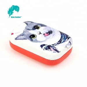 Cute cat custom design PU Leather contact lens case with mirror