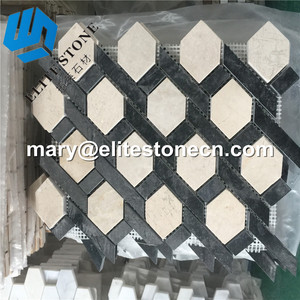 Spain Crema Marfil Hexagon Tile Mosaics 2'' Polished For Backsplash