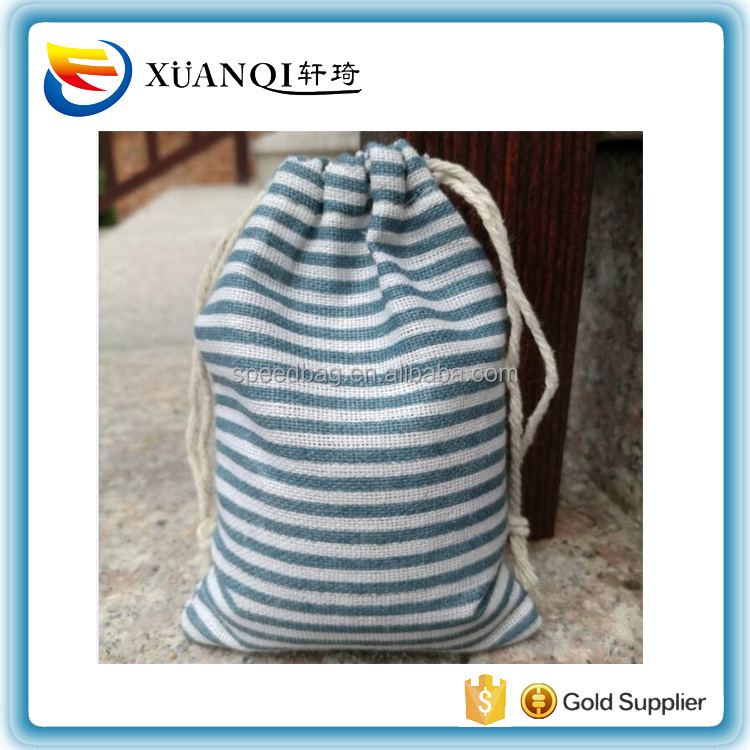 Blue Stripe Cotton Gift Drawstring Bag Pack of 100 Birthday Party Favor Holder Ring Earring Stud Jewelry Packaging Pouch