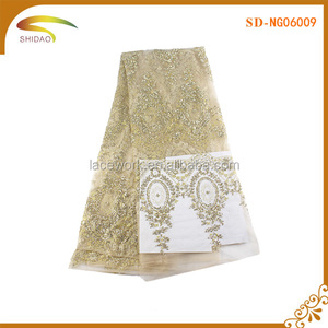 Best sales gold sequin voile lace for dress robe SD- NG06009