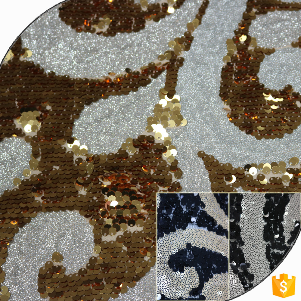 Reversible Sequin Lace Fabric,Sequin Tulle Lace Fabric In Shaoxing