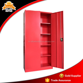 Eco  Friendly Powder Coated Steel Furniture Double Door Locker Style Red  Metal File Storage Cabinets