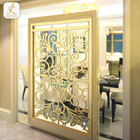 Decorative Laser Cut Metal Screens Art Decor For Sale Bright Gold Stainless Steel Decorative Room Partitions For Bedroom