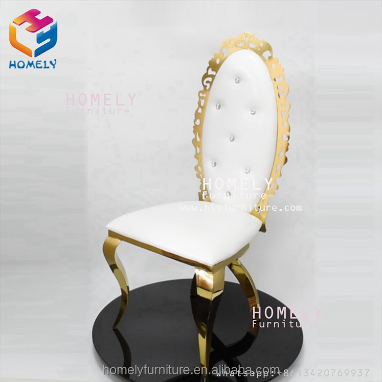 Fancy hotel banquet furniture stainless steel gold royal chair
