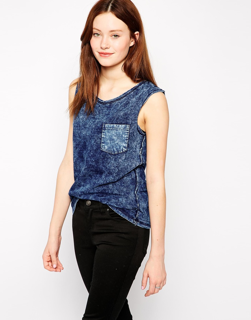 2015 Acid Washed Sleeveless Denim T Shirt Wholesale Pocket Women ...