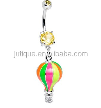 Yellow Gem Multi Colored Neon Hot Air Balloon Dangle Belly Ring
