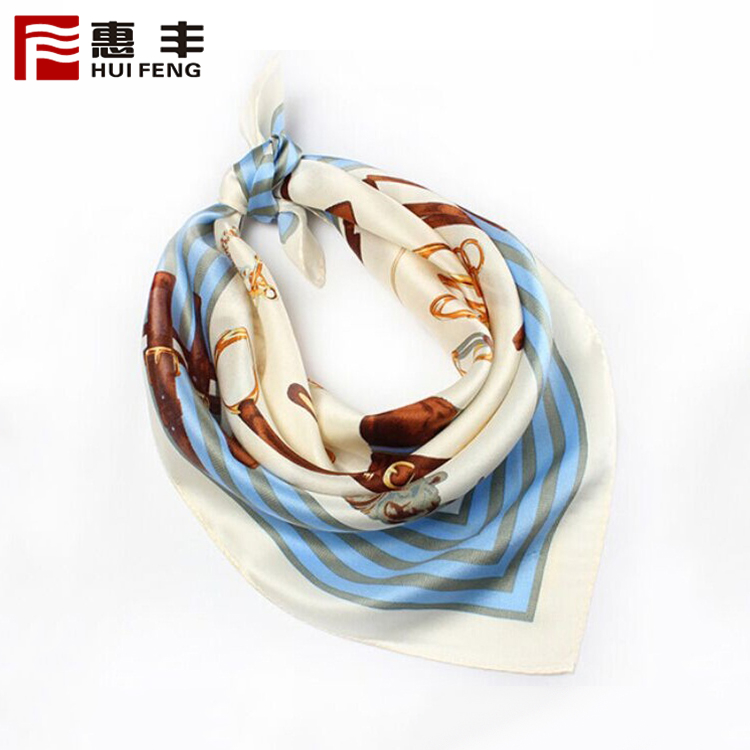 Fashion Customized Head Scarf Silk Square Logo ,Silk Scarf Plain