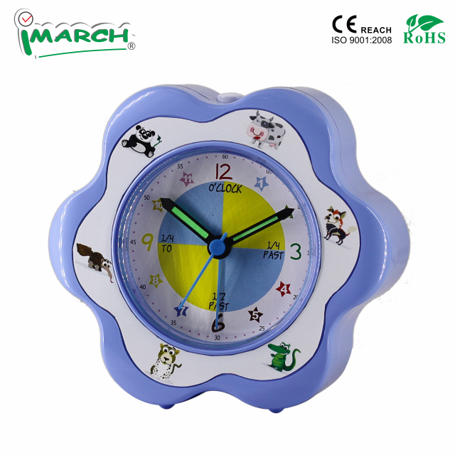 Kid plastic flower shape 12cm analog quartz table alarm clock