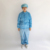 Unisex Zipper Blue Lab Cleanroom Antistatic Smock With Stand Collar
