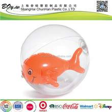 ICTI factory safety testing OEM cheap kids toys play animal pvc inflatable beach ball with fish inside