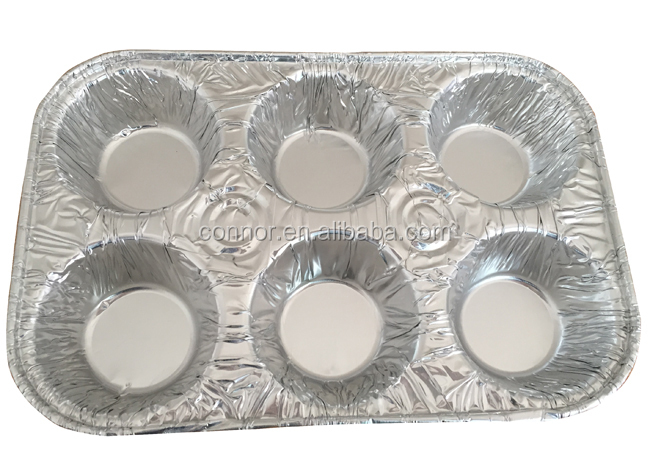Disposable Rectangular Divided 6 Cup Aluminium Foil Muffin Pan ...