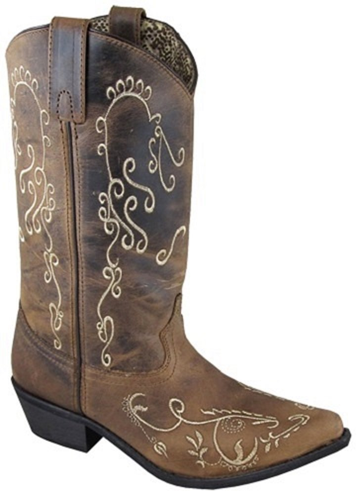56f99df9d97 Get Quotations · Smoky CHILD'S Kids Girls Size 12 Embroidered Brown  Distressed Leather Snip Toe Western Cowboy Boots