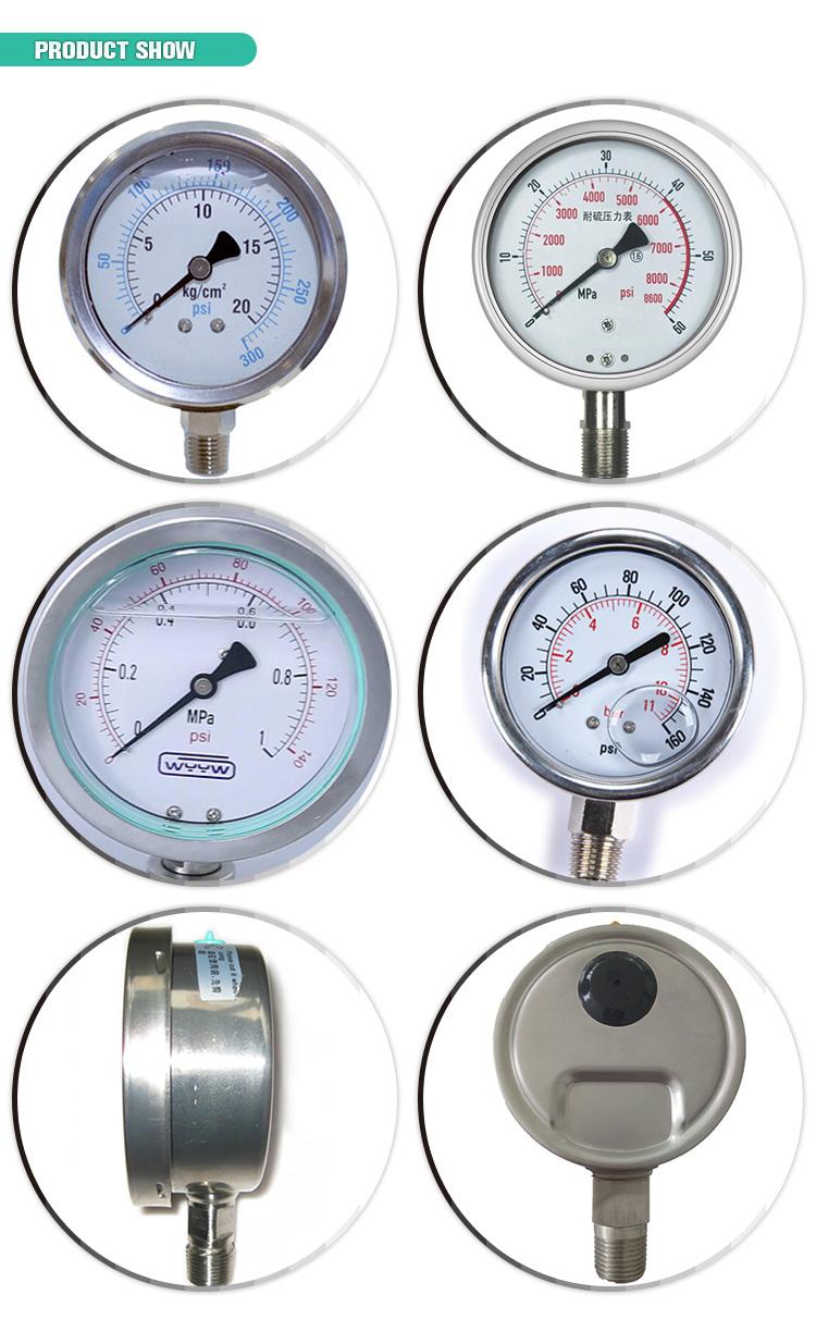 Eau, air, huile, gaz, vapeur, jauge de pression d'air
