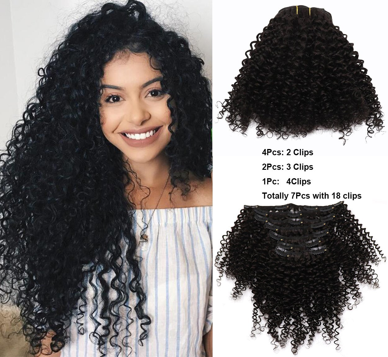 """VGTE Beauty Brazilian Afro Kinky Curly Clip Ins Human Virgin Hair Natural Black Color African American Clip In Hair Extensions 100Gram 7Pcs/Set(16"""")"""
