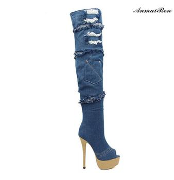 53c5a022f3d Women High Heel Over The Knee platform peep toe dark Blue Denim Boots