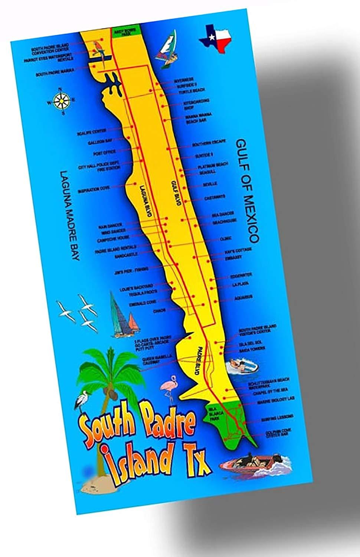 "Custom & Luxurious {30"" x 60"" Inch} 1 Single Large & Thin Soft Summer Beach & Bath Towels Made of Quick-Dry Cotton w/ Nautical Ocean Tropical San Padre Island Texas Coastal Souvenir Style [Multicolor]"