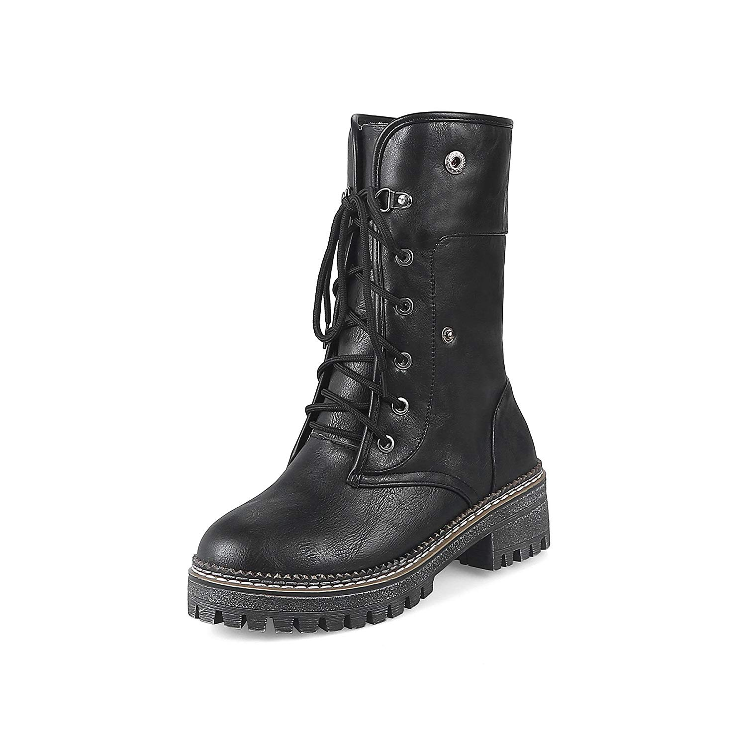 247ae83d95341 Get Quotations · CHENSIR9 Women Winter Martin Boots Female Leather Combat  Boots Woman Mid-Calf Warm Ladies Shoes