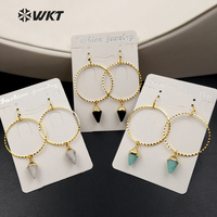 WT-E381 WKT New Fashion Real Gold Plated Unique Design Earrings Gorgeous Dangle Earrings