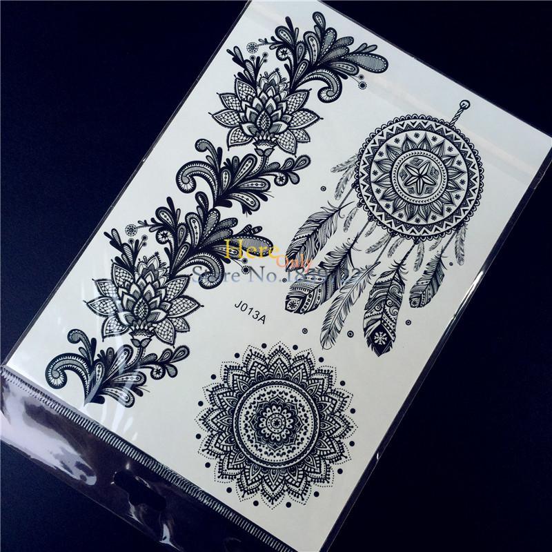 Temporary Black Henna Tattoo: 1PC Fashion Large Indian Mehndi Black Henna Temporary