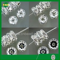 6MM 8MM 10MM DIY silver plated nigeria rhinestone spacer beads