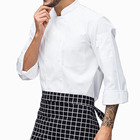 custom stand collar long sleeve double-breasted button restaurant coat kitchen chef jacket cooking cheap chef uniform