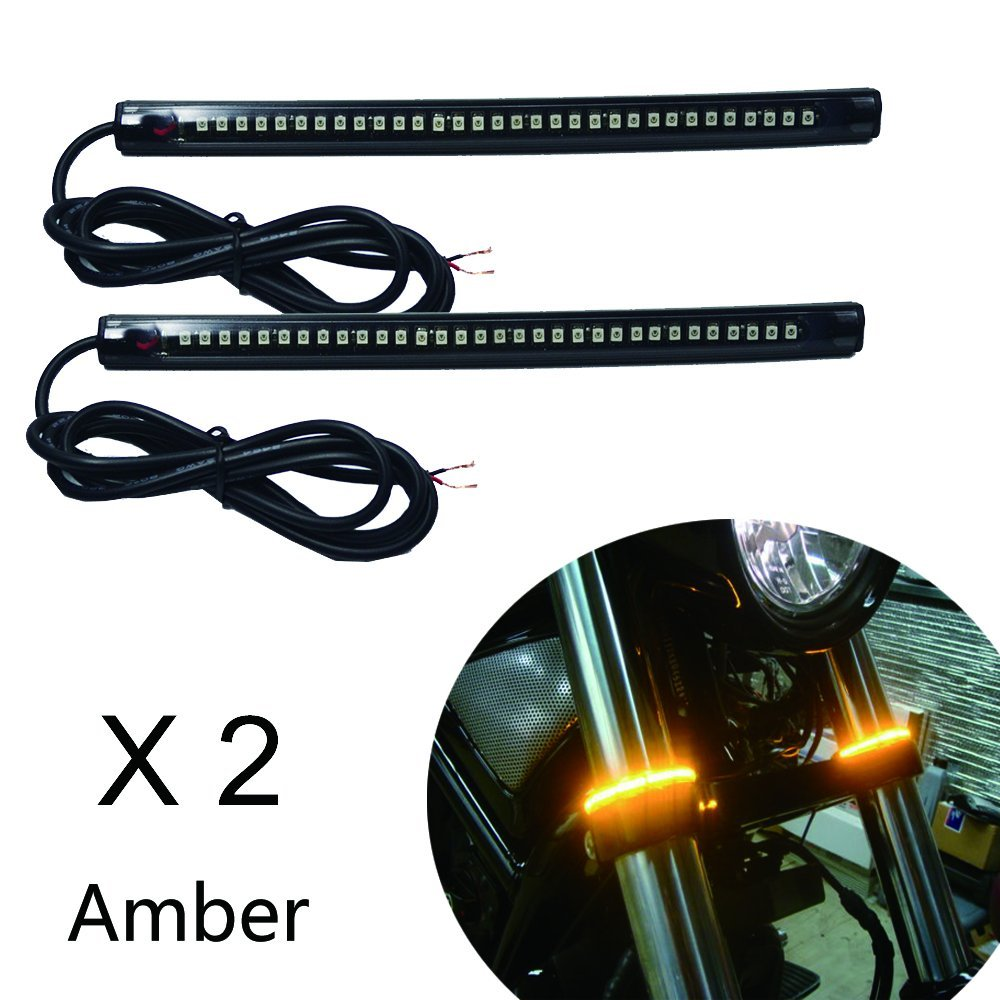 "NBWDY Universal LED Light Strip Tail Trailer Brake Stop Turn Signal 2 x 32-3528 SMD 8"" Flexible LED License Plate Lights DC12V for Motorcycle Bike ATV Car RV SUV (Amber)"