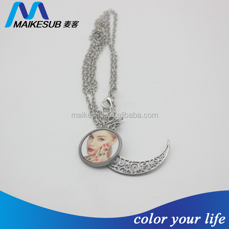 Custom fashionable plated alloy blanks sublimation pendant necklace