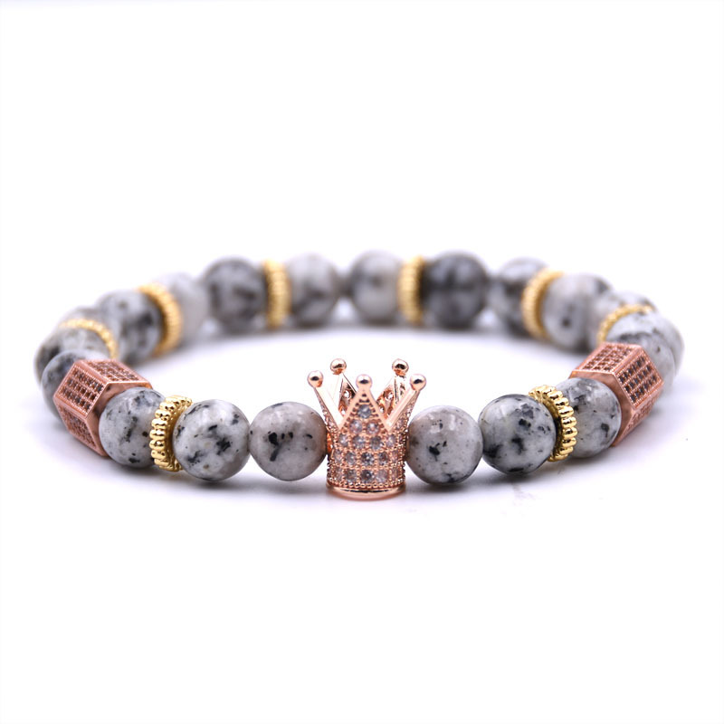2018 New Style Men CZ 왕 Crown Bracelet Bead 마크라메 Natural 돌 Bracelet