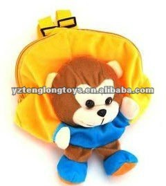 2012 cheap and lovely soft monkey cartoon children and kids plush school backpack