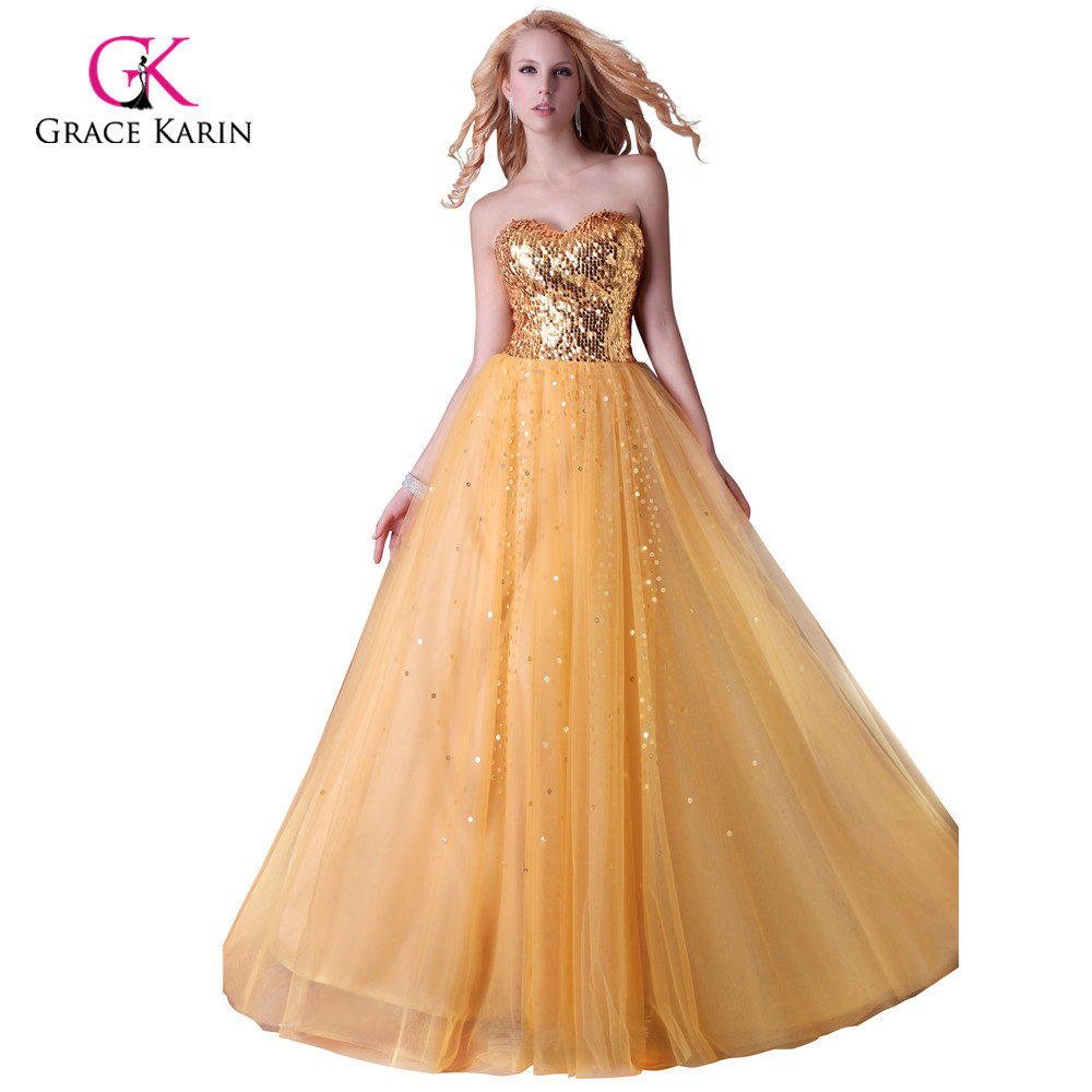 Get Quotations · Grace Karin Strapless Gold Black Blue Sequins Party Dress  Long Formal Evening Gowns Sweetheart a0e7a0fb6ed3