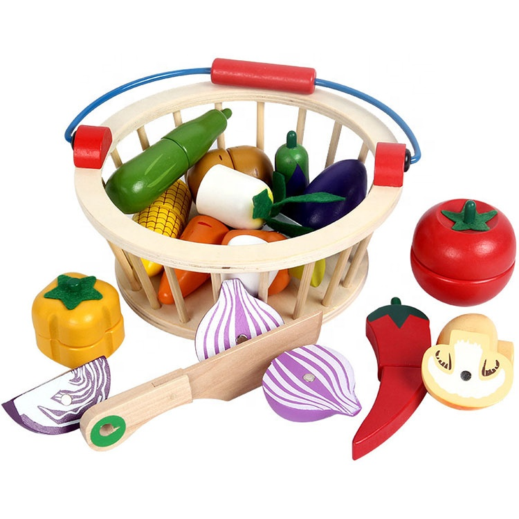 Predtend Play Set Shopping Wooden Magnetic Cutting Fruit Vegetables Kitchen Toys with Wooden Round Basket
