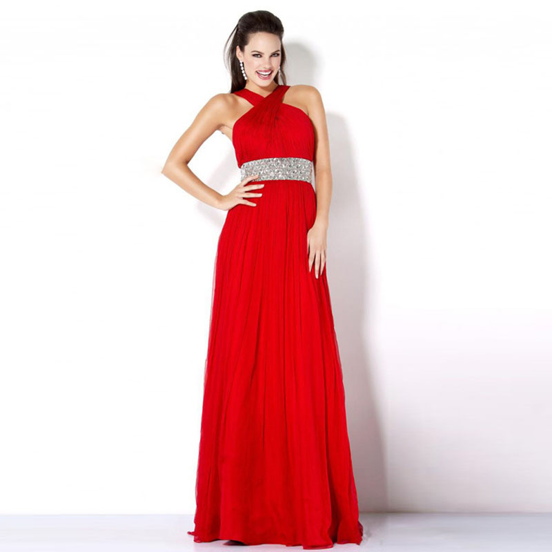 5fe550444c6 Get Quotations · gala dress 2014 hot sexy halter A-line evening dress gowns  beading sequins crystals chiffon red