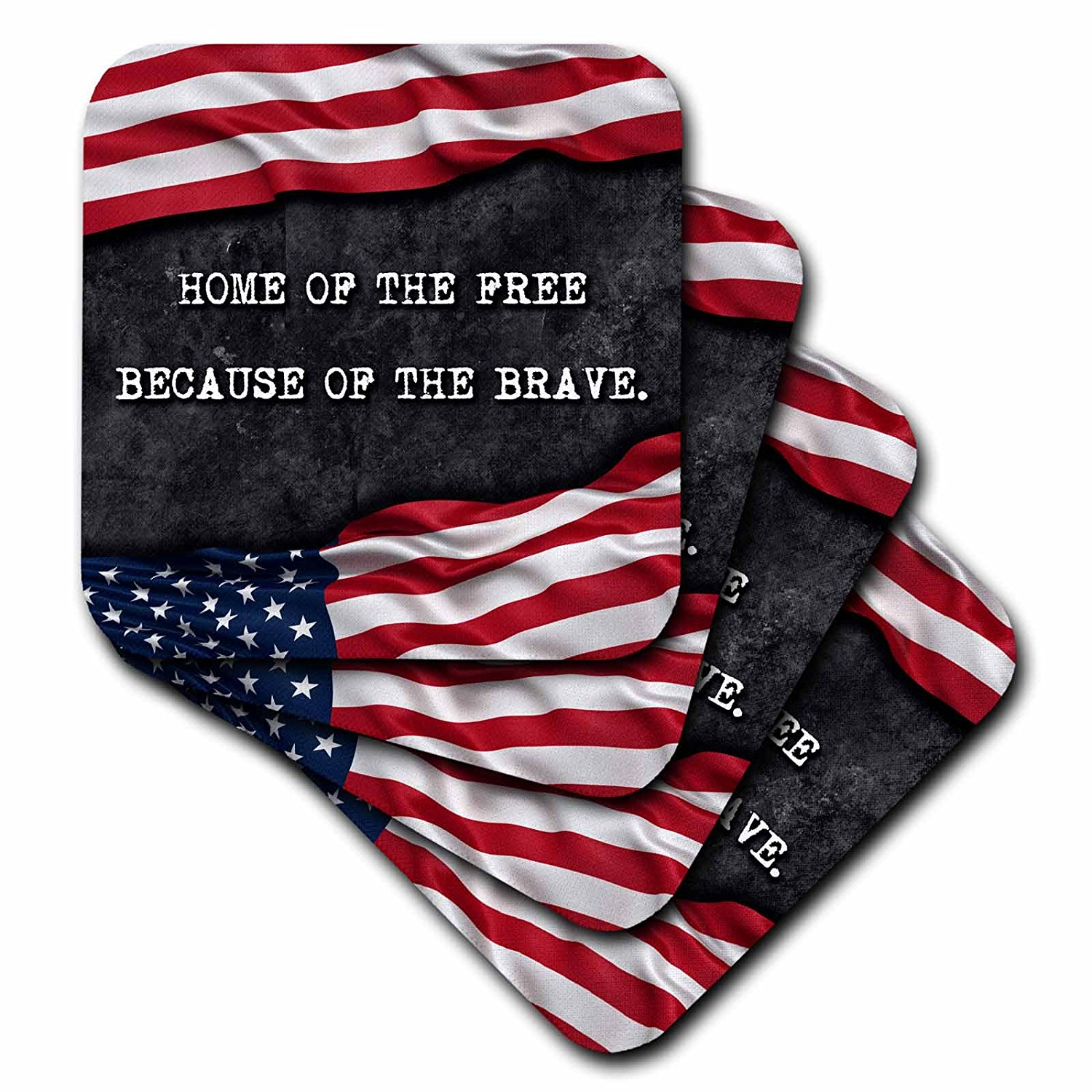 Carsten Reisinger - Illustrations - Home of the free because of the brave. Patriotic quote. - set of 4 Coasters - Soft (cst_237417_1)