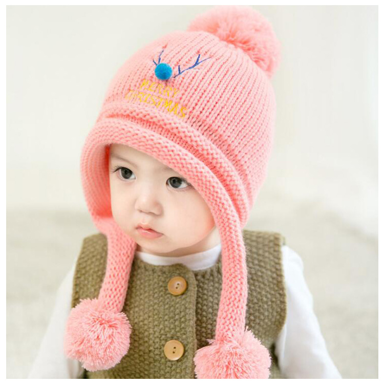 6269ab1dc83 Korean Stylish Christmas Fashion Baby Winter Knitted Deer Hats 6-24Months