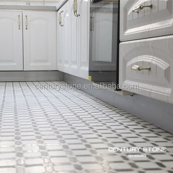 Kitchen Room Design Marble Mosaics Tiles Polished Black And White