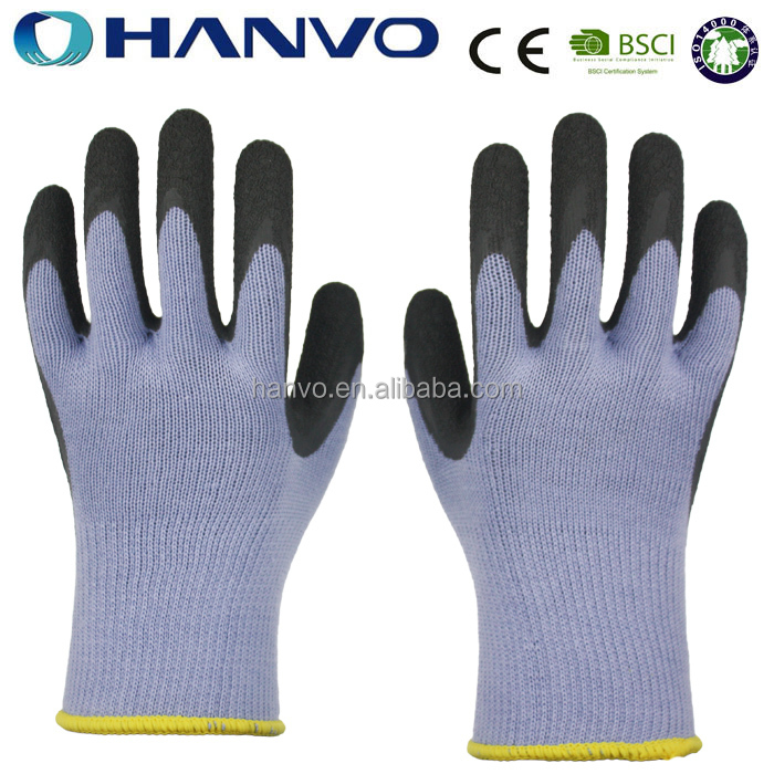 HANVO Poly Cotton Knitted Black Latex Coated Gloves