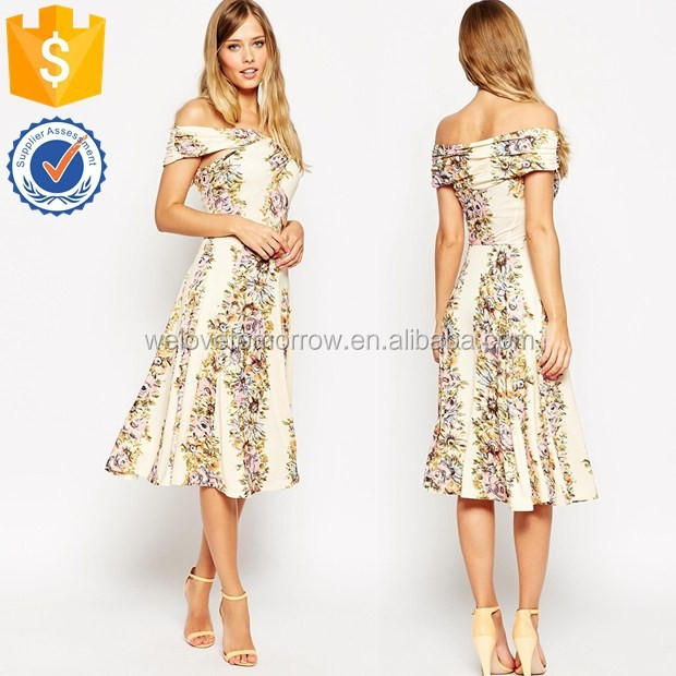 Guangdong women clothing factory for wrap midi dress in vintage flora soft pleating skirt midi dress