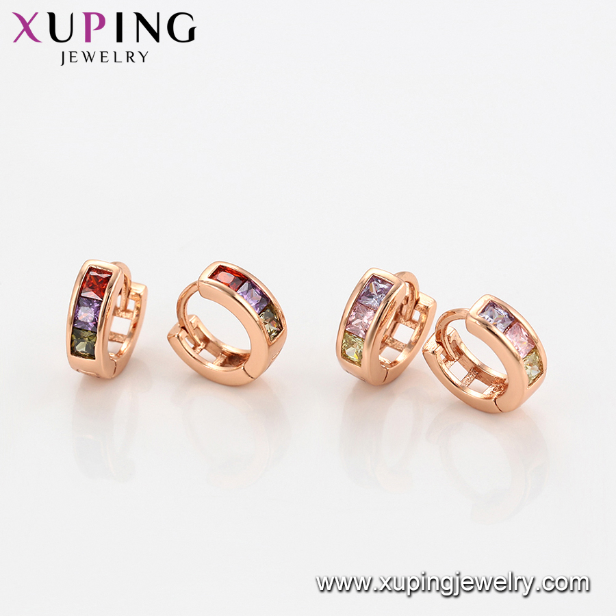 96663 xuping rose gold multi color crystal earring