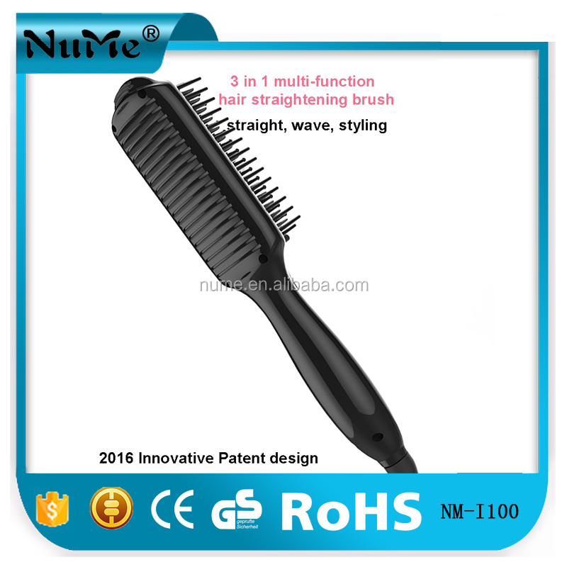 5 led light hair straightener comb, Best quality electric hot air brush rotating hair straightening brush
