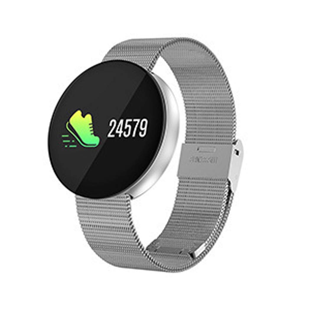 YWY Smartwatch for iOS/Android Calories Burned/Bluetooth/Pedometers/Pedometer/Call Reminder/Activity Tracker/Sleep Tracker Smart Bracelet (Color : Silver)