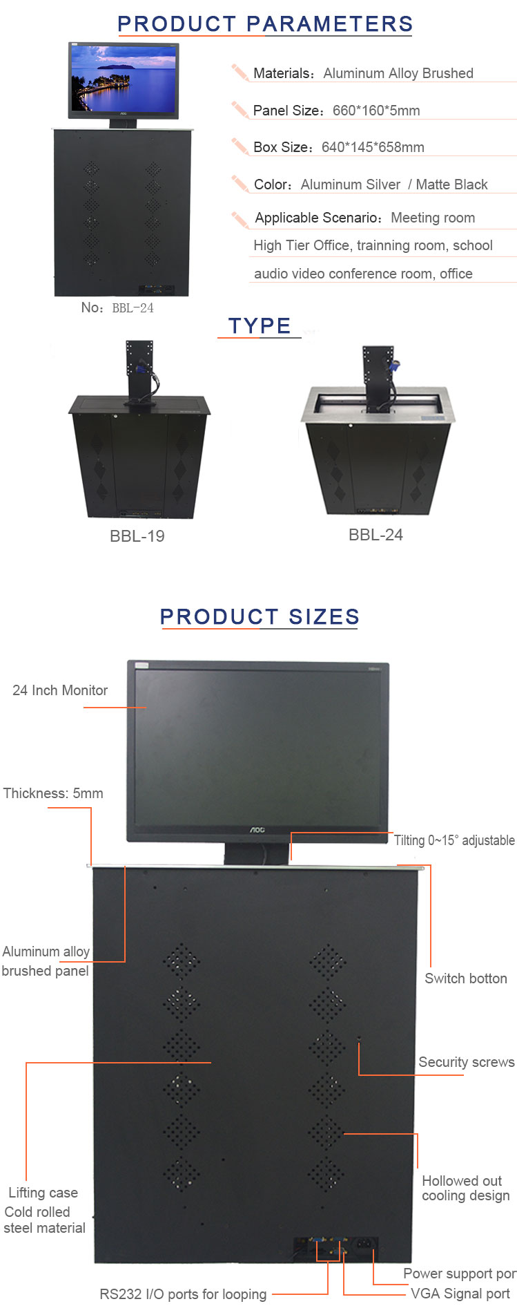 BNT 24 inch monitor desk top mounted motorized monitor lcd lift