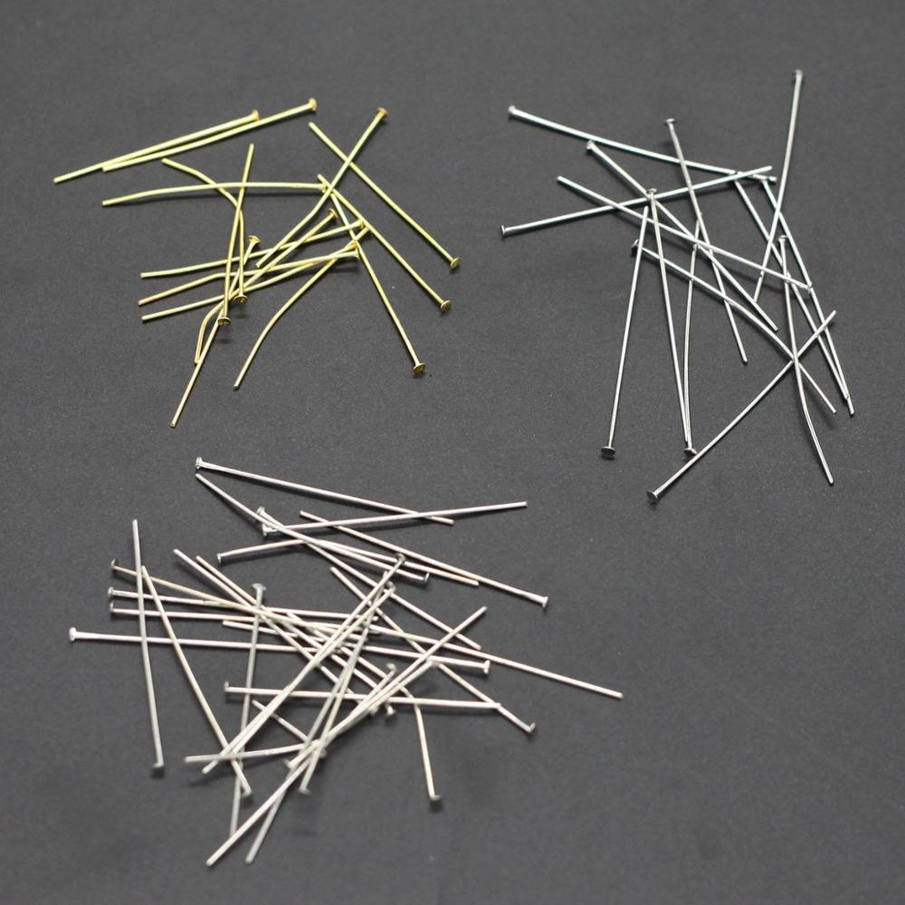 Making Jewelry DIY <strong>Accessories</strong> Finding Silver Gold Pleated Head Pins Needles Jewelry Pins Findings Flat Pins Wholesale