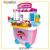 amazon hot sale luxury girls electronic pretend toy kitchen 2 in 1 cooking and drawing  plastic kitchen toy sets