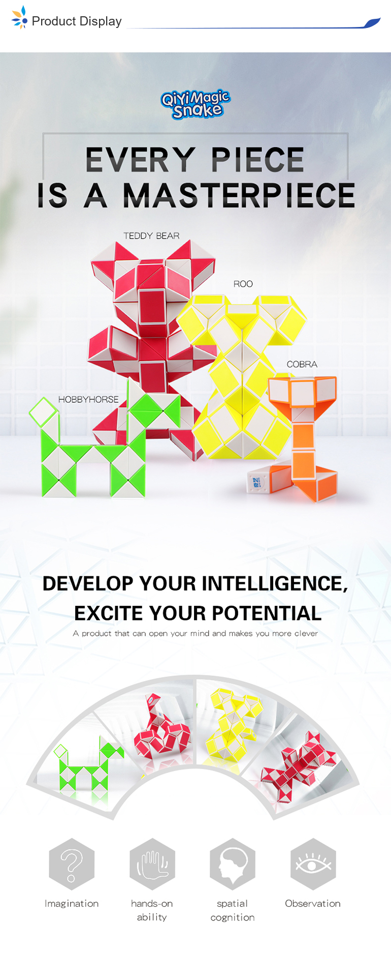 Educational 24 section double color plastic magic snake puzzle diy toy for playing