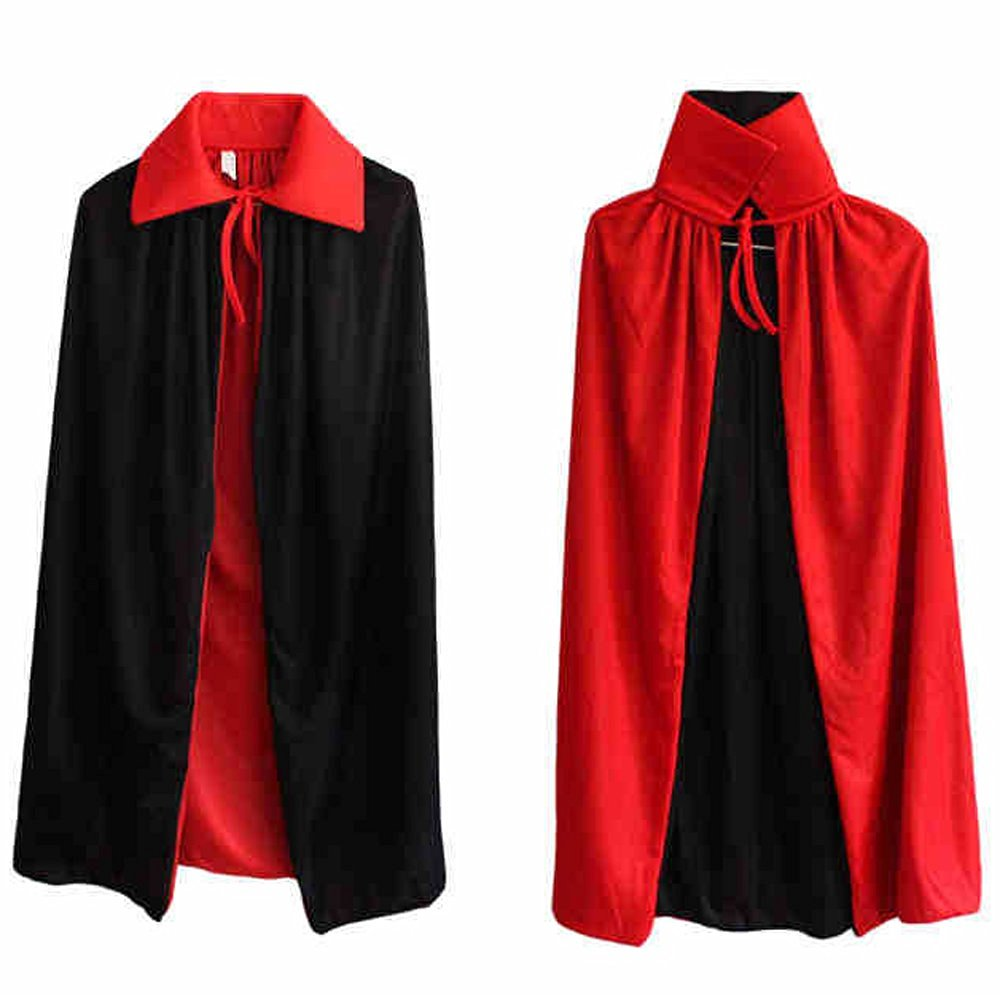 Aenmil® Deluxe Reversible Cloak Halloween Cloak Stand Collar Full Length Cape Costumes Fancy Dress, 120cm Long Black and Red Vampire Dracula Villian Goth Magician Cape (120cm)