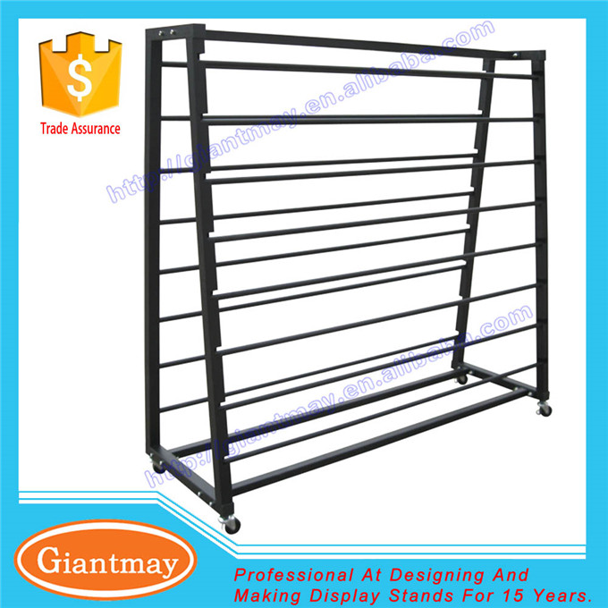 store movable metal double sided 8 floor rolling storage for fabric roll display rack stand